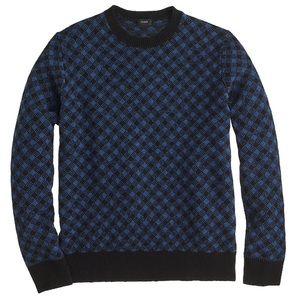 J. Crew Lambswool Diamond Check Sweater